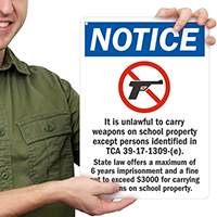 Unlawful Carry Weapons Sign