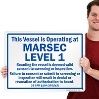 Vessel Operating At Marsec Level 1 Sign, Blue