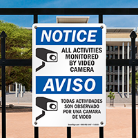 Bilingual Notice/Aviso All Activities Monitored Video Sign