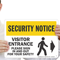 Please Sign In Out Visitor Entrance Right Sign