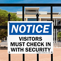 Notice Visitors Check In With Security Sign