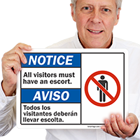 Visitors Must Have Escort Bilingual Sign