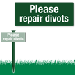 Please Repair Divots Easystake Sign