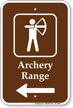 Archery Range in Left, Campground Guide Sign