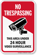 Area Under Video Surveillance No Trespassing Sign