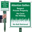 No Carts No Hitting Private Property Sign