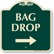 Bag Drop Designer Sign With Right Arrow