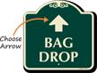 Bag Drop Designer Sign With Up Arrow