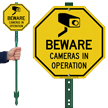 Beware Cameras In Operation Sign