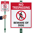 No Trespassing Beware Of Dog Sign