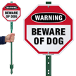 Beware Of Dog Warning LawnBoss Sign