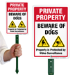 Beware Of Dogs Video Surveillance LawnBoss Sign