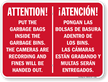 Bilingual Attention Put Garbage Bags Inside Bins Sign