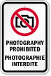 Bilingual Photography Prohibited Sign