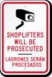 Bilingual Shoplifting Sign