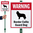 Warning Border Collie Guard Dog LawnBoss™ Signs