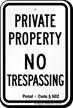 California No Trespassing Sign