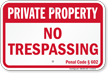 California Private Property Sign