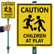 Children At Play Caution Sign for Lawn