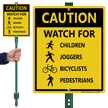 Watch For Children, Joggers, Bicyclists, Pedestrians Sign
