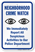 Neighborhood Crime Watch Sign with Eyes Symbol