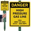 Custom Danger High Pressure Gas Line LawnBoss Sign
