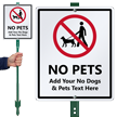 Custom No Pets LawnBoss Sign