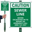 Custom Caution Sewer Line LawnBoss Sign