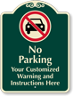 Customizable No Parking Signature Sign with Graphic
