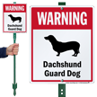 Warning Dachshund Guard Dog LawnBoss™ Signs