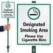 Designated Smoking Area Use Cigarette Bins Sign
