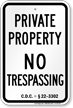 District of Columbia No Trespassing Sign
