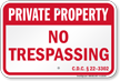 District of Columbia Private Property Sign