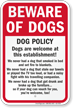 Dog Policy Funny Beware Of Dog Sign