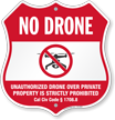 Drone Over Private Property Is Prohibited Shield Sign