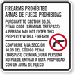 Section 30.05 Enter Property With Firearm Prohibited Criminal Trespass Texas Gun Law Sign