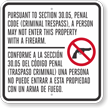 Firearms Prohibited On Property Criminal Trespass Texas Gun Law Sign - Section 30.05