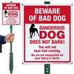 Funny Beware Of Bad Dog LawnBoss Sign