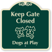 Keep Gate Closed Dogs At Play Sign