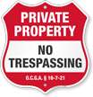 Georgia Private Property Shield Sign