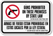 Bilingual Texas Guns Prohibited on Premises Sign, §46.035