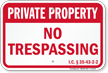 Indiana Private Property Sign