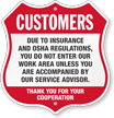 Insurance OSHA Regulations Restricted Area Shield Sign