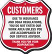 Insurance OSHA Regulations Restricted Area Shield Sign