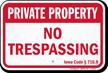 Iowa Private Property Sign