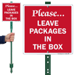 Leave Packages In The Box LawnBoss Sign