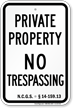 North Carolina No Trespassing Sign