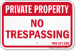 Nevada Private Property Sign
