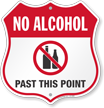 No Alcohol Past This Point No Alcohol Shield Sign