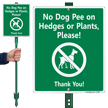 No Dog Pee On Hedges, Plants LawnBoss™ Signs